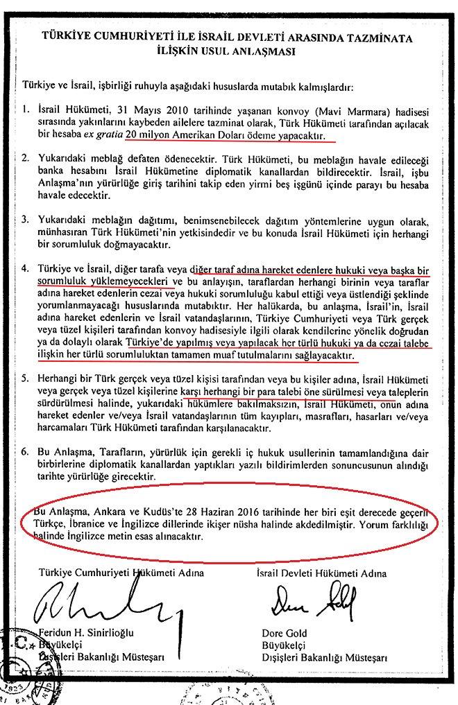 AKP, Mavi Marmara anlaşmasında Kudüs'ü başkent olarak zaten tanımış: İşte belgesi!