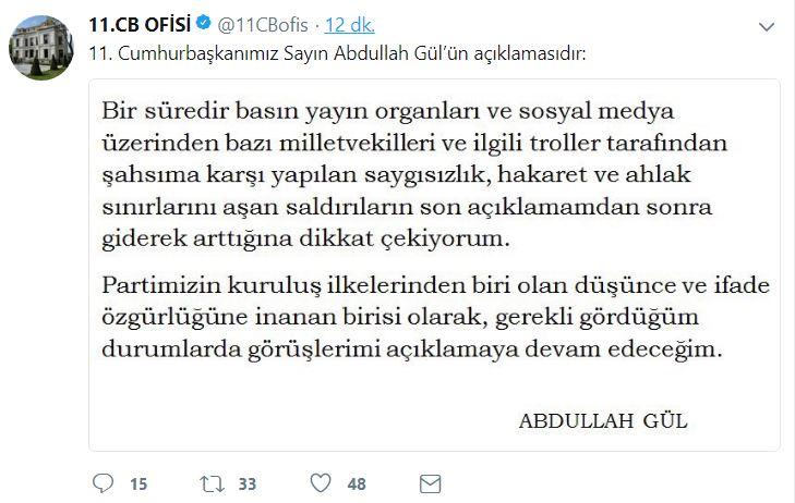 Abdullah Gül'den Tayyip Erdoğan'a yanıt!