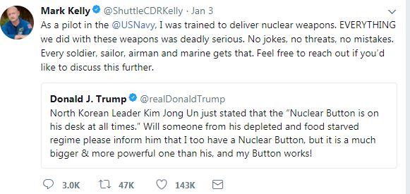 """Eski astronottan Trump'ın """"nükleer düğme"""" paylaşımına yanıt"""