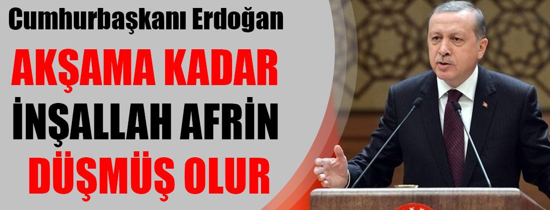 Erdoğan: Akşama kadar İnşallah Afrin düşmüş olur