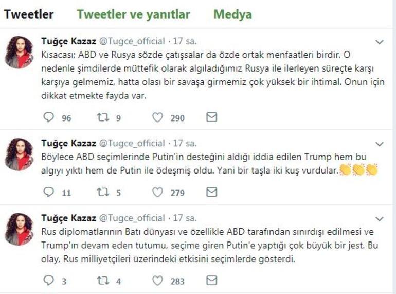 Tuğçe Kazaz'dan Rusya uyarısı