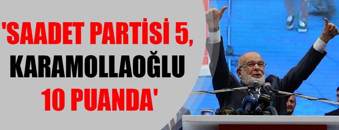 'Saadet Partisi 5, Karamollaoğlu 10 puanda'