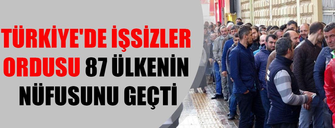 Türkiye'de işsizler ordusu 87 ülkenin nüfusunu geçti