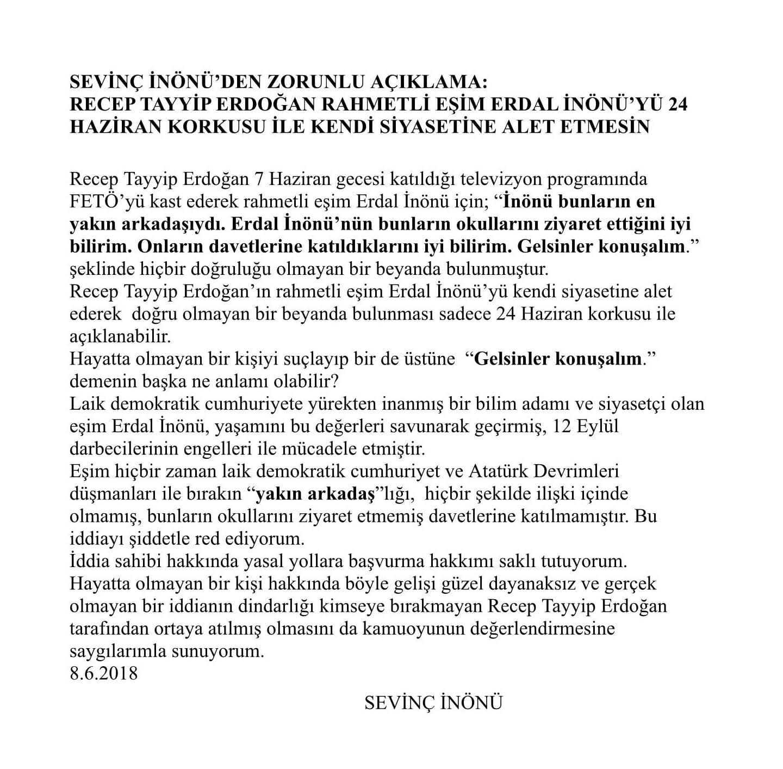 Sevinç İnönü'den Erdoğan'a sert tepki: Erdoğan'ın 24 Haziran korkusu...