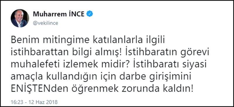 """Erdoğan'ın ilginç iddiasına İnce'den """"Enişteli"""" yanıt"""