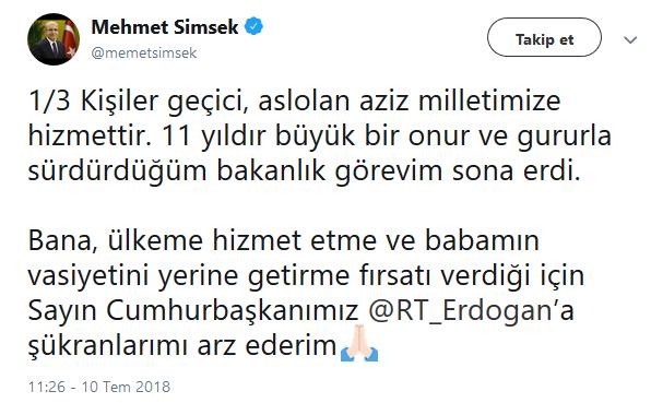 Mehmet Şimşek 3 Tweet'le veda etti