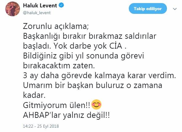 Haluk Levent'ten AHBAP kararı