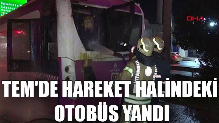 TEM'de hareket halindeki otobüs yandı