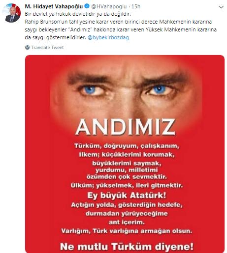 MHP'li vekil Andımız'ı eleştiren Bekir Bozdağ'ın FETÖ tweetlerini paylaştı