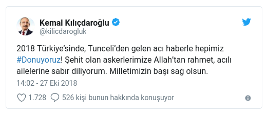 Kılıçdaroğlu: Acı haberle hepimiz #Donuyoruz!