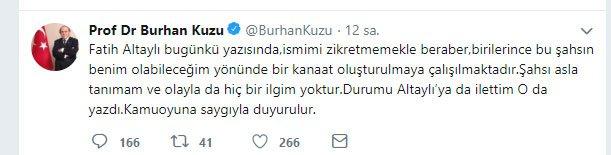 Burhan Kuzu'dan o iddialara yanıt geldi