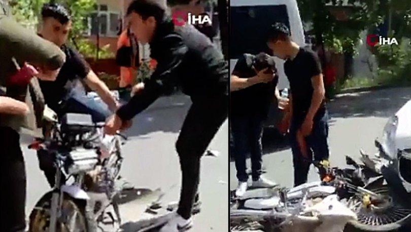 Kaza yaptı ama kendini değil motosikletini düşündü...