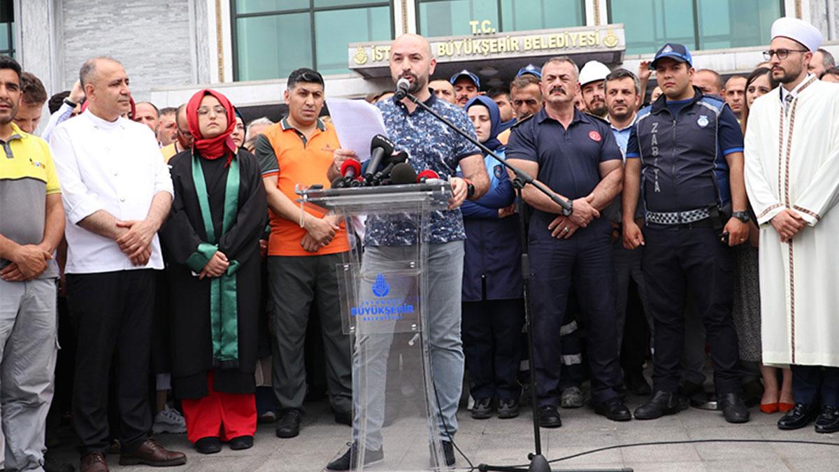 İmamoğlu'ndan, İBB önünde kendisini protesto eden personeller hakkında açıklama