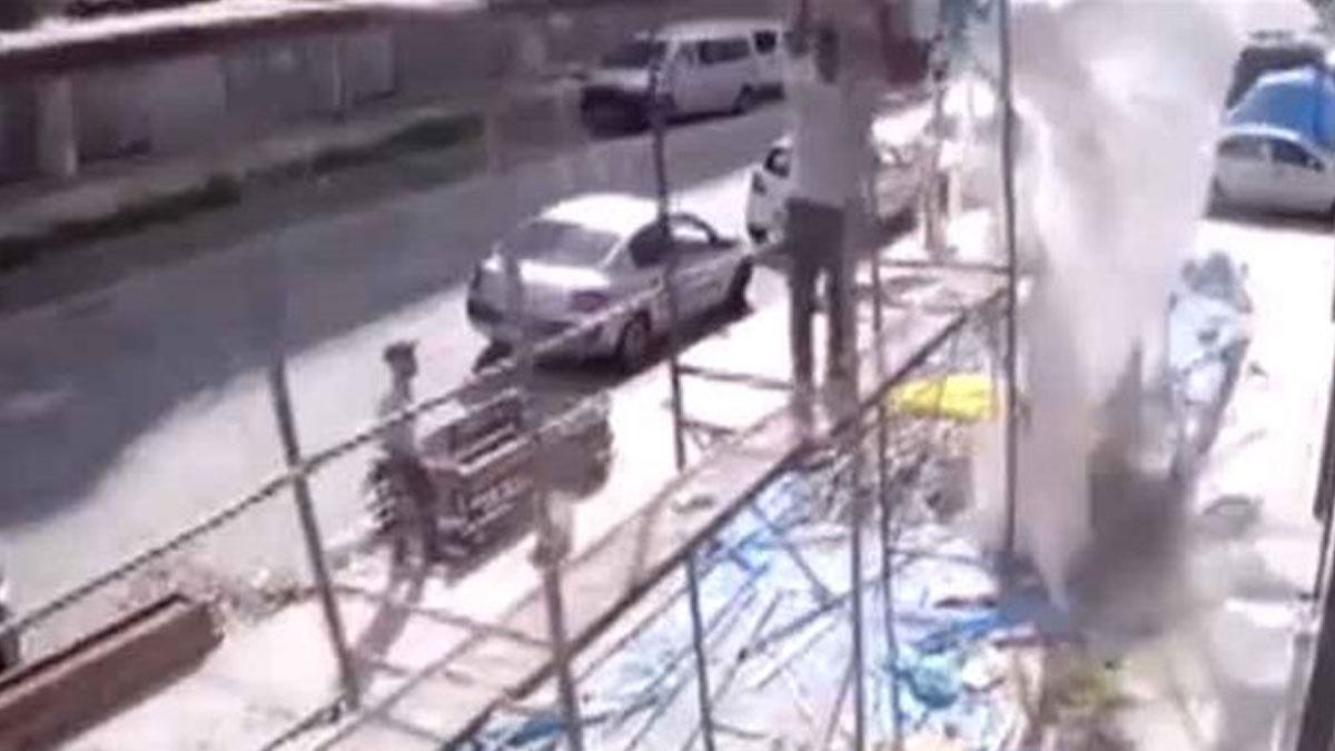 Rize'de inşaat iskelesi çöktü: 2 işçi yaralandı