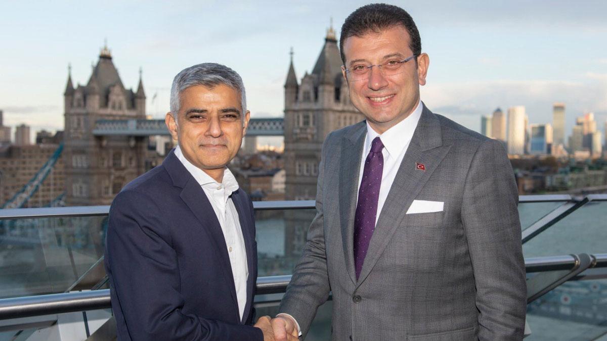 İmamoğlu, Londra Belediye Başkanı Sadık Han ile bir araya geldi