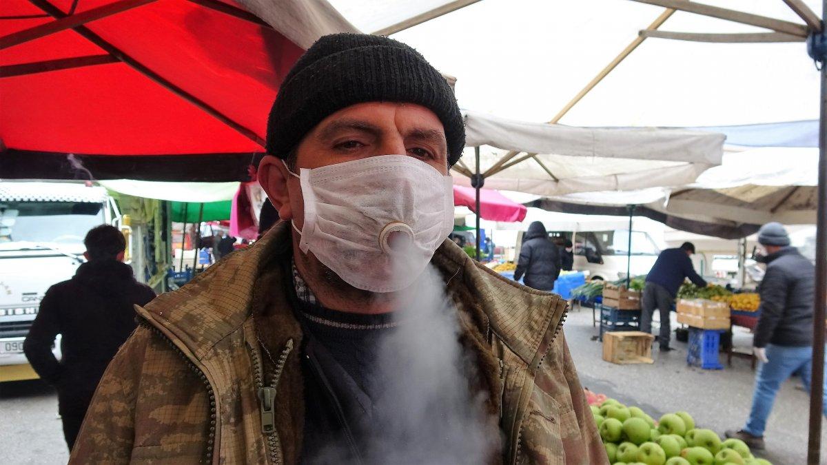 Sigara tiryakisinden maskeye sigara ayarı