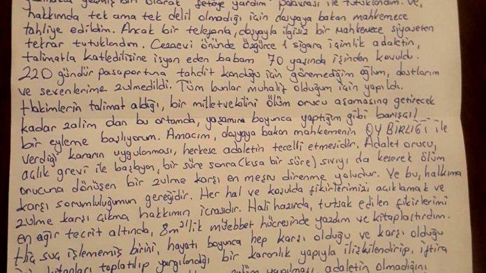 Eren Erdem'den mektup: Ses olmak için Adalet Orucu'na başlıyorum