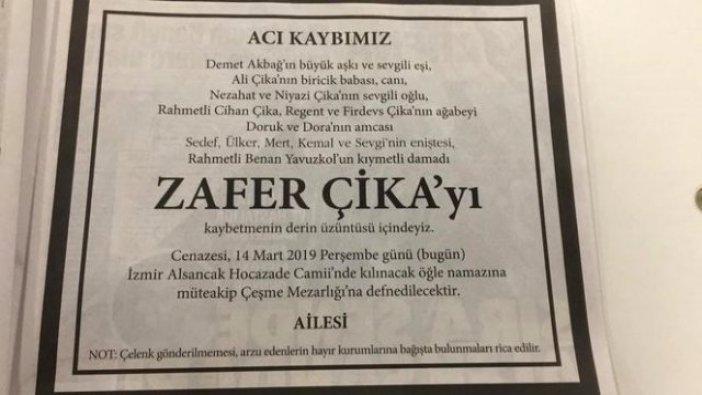 Zafer Çika'nın ailesi özel ricada bulundu!