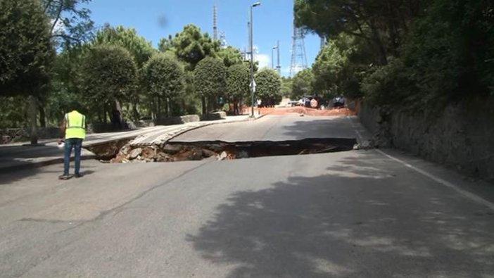 İstanbul Çamlıca'da yol çöktü