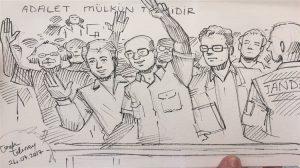 İşte kare kare çizimlerle Cumhuriyet davasının en çarpıcı anları!