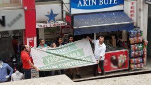 Cerattepe'de Danıştay kararına karşı Artvinliler kendilerini Eti Maden'e zincirledi!