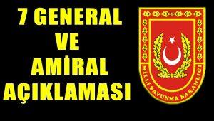 MSB'dan 7 general ve amiral kararı
