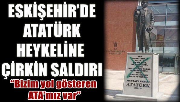 Atatürk heykeline sprey boyalı saldırı