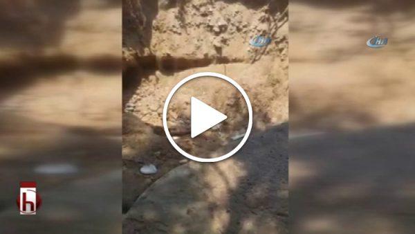 Bodrum'da deprem anında plajda dev çukur oluştu