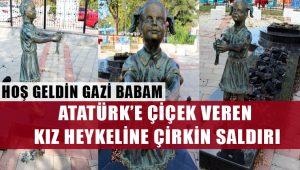 Zonguldak'ta Atatürk'e çiçek veren kız heykeline çirkin saldırı!