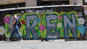Eren Bülbül için İstiklal Caddesi'nde grafiti yapıldı