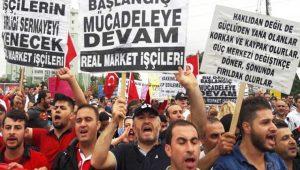 Meclise yürümek isteyen Real işçilerini polis engelledi