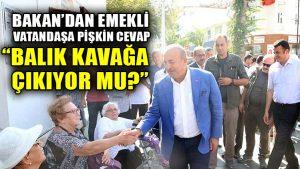 Bakan Çavuşoğlu'ndan emekli vatandaşa pişkin cevap: Balıklar kavağa çıkıyor mu?