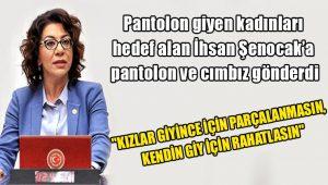 Pantolon giyen kadınları hedef alan İhsan Şenocak'a CHP'li Biçer pantolon ve cımbız gönderdi