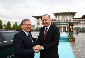 Özbekistan Cumhurbaşkanı Mirziyoyev Beştepe'deki Saray'da