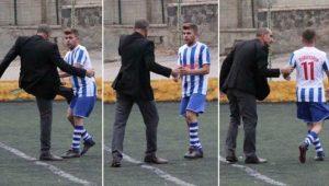Maçın ortasında kulüp başkanından futbolcuya dayak
