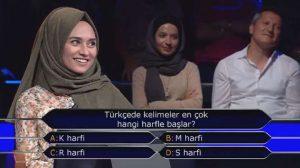 """""""Kim Milyoner olmak ister"""" yarışmasında """"Türkçe'de kelimeler en çok hangi harfle başlar"""" yanıt buldu"""