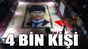 İzmir'de önce 4 bin kişilik zeybek, sonra Atatürk portresi