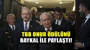 Cindoruk, Türkiye Barolar Birliği ödülünü Baykal'a ithaf etti