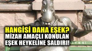 Eskişehir'de tartışılan eşek heykeline saldırı: Kulaklarını kopardılar