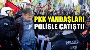 PKK yandaşları Almanya'da polisle çatıştı: Polis PKK ve Öcalan bayraklarını indirilmesini istedi