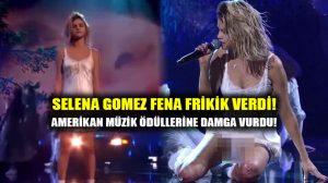Selena Gomez frikik vermekten kurtulamadı! Amerikan Müzik Ödüllerine damga vurdu