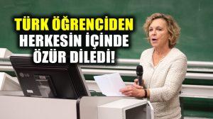 Alman profesör başörtülü Türk öğrencisinden herkesin içinde özür diledi