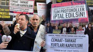 İstanbul'da cemaat-tarikat yurtları kapatılsın eylemi