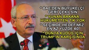Kılıçdaroğlu: Birleşik Arap Emirlikleri özür dileyene kadar Büyükelçi derhal çekilmeli