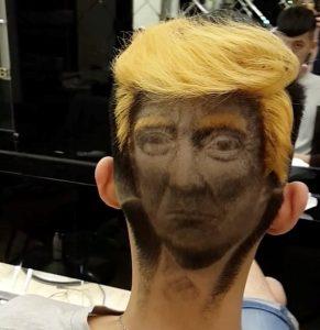 Saçına Trump'ın potresini kazıttı