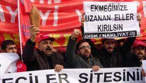 İBB önünde nakliyat işçilerinden eylem