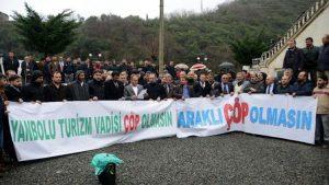 Trabzon'da katı atık bertaraf tesisi protestosu