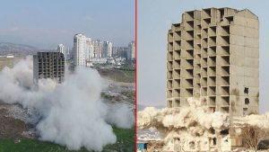 Dün 300 kilo dinamitle yıkılmayan bina bugün kendiliğinden çöktü