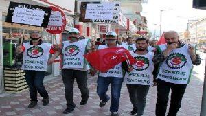 Turhal'da şeker fabrikası işçilerinden 'siyah bantlı' eylem