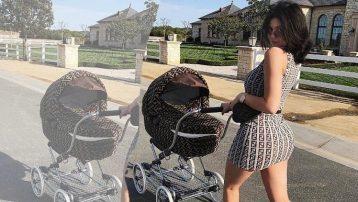 Kylie Jenner bebek arabasıyla takım giyinip sokağa çıktı